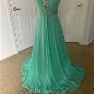 Green and sliver dress